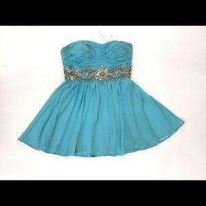 Night Moves Strapless Blue Dress W Sequins Size 10